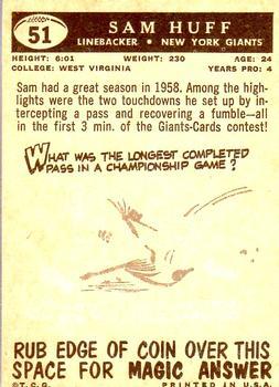 1959 Topps #51 Sam Huff RC back image