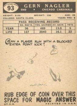 1959 Topps #93 Gern Nagler back image
