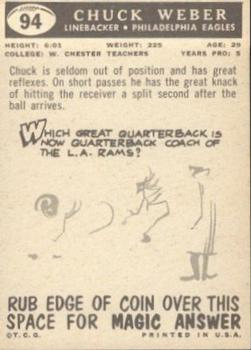 1959 Topps #94 Chuck Weber RC back image