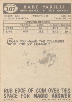 1959 Topps #107 Babe Parilli back image