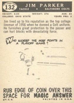 1959 Topps #132 Jim Parker RC back image