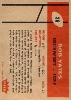 1960 Fleer #36 Bob Yates RC back image