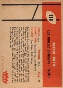 1960 Fleer #118 Ron Mix RC back image
