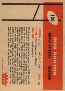 1960 Fleer #130 Ron Burton RC back image