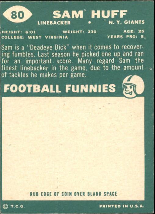 1960 Topps #80 Sam Huff back image