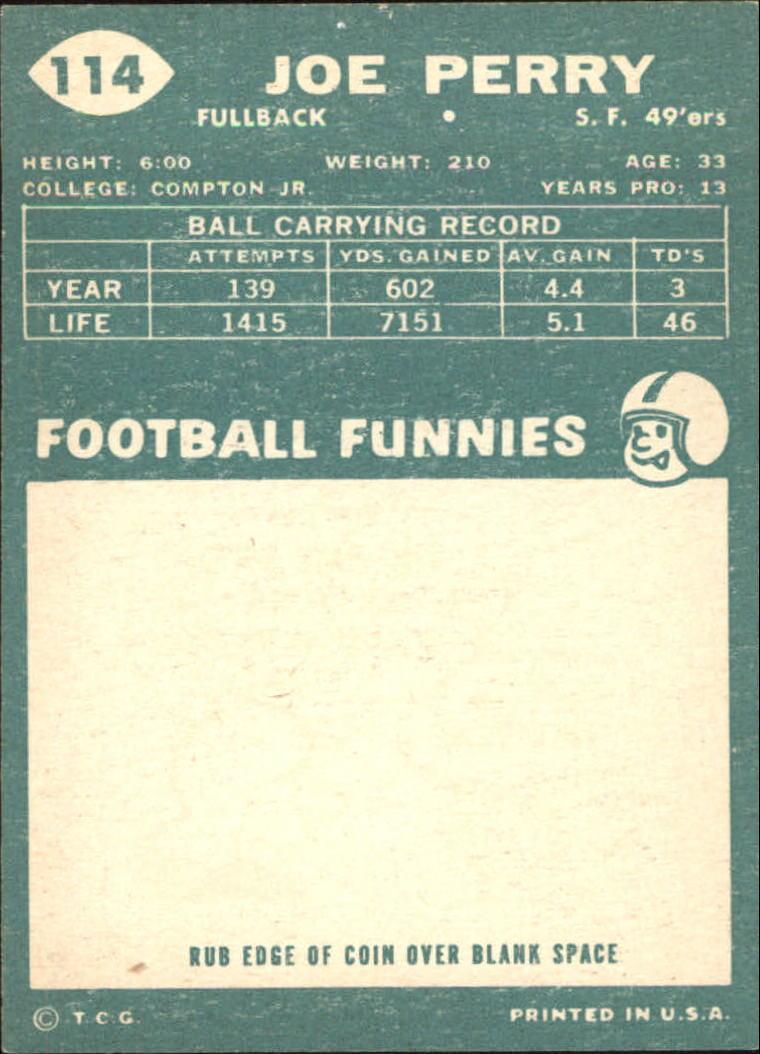 1960 Topps #114 Joe Perry back image