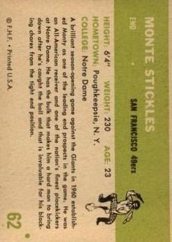 1961 Fleer #62 Monty Stickles RC back image