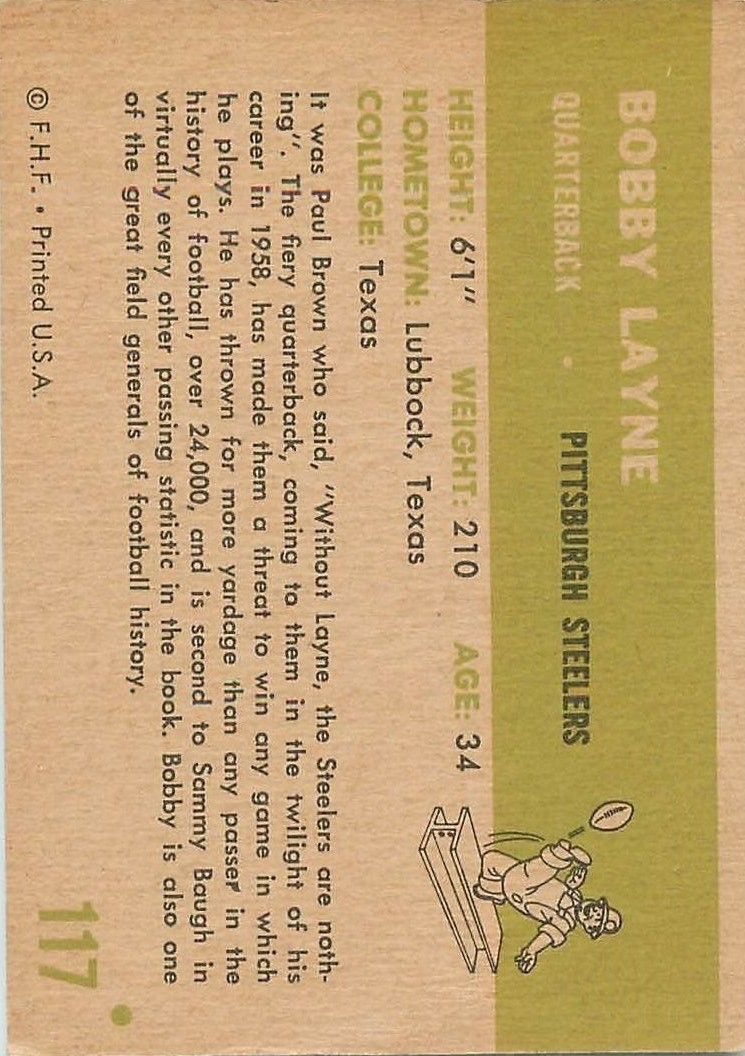 1961 Fleer #117 Bobby Layne back image