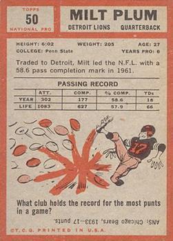 1962 Topps #50 Milt Plum back image