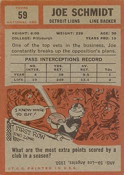1962 Topps #59 Joe Schmidt back image