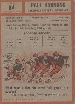 1962 Topps #64 Paul Hornung SP back image