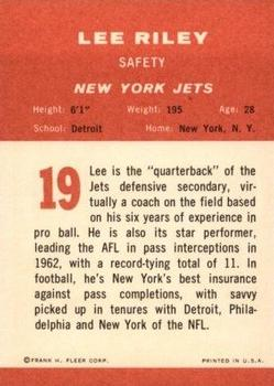 1963 Fleer #19 Lee Riley back image