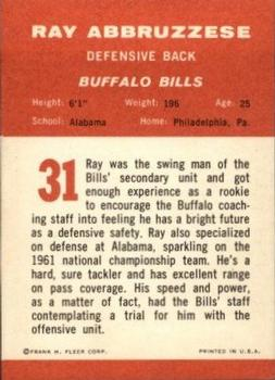 1963 Fleer #31 Ray Abruzzese RC UER/(name misspelled Abbruzzese) back image