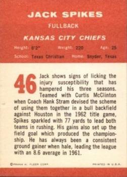 1963 Fleer #46 Jack Spikes back image