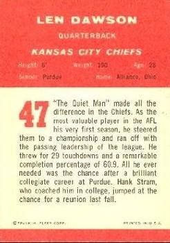 1963 Fleer #47 Len Dawson RC back image