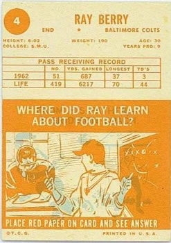 1963 Topps #4 Raymond Berry back image