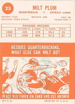 1963 Topps #25 Milt Plum back image