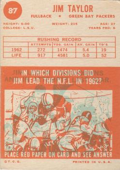 1963 Topps #87 Jim Taylor back image