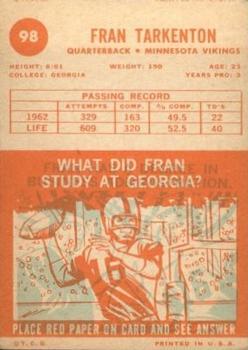 1963 Topps #98 Fran Tarkenton back image