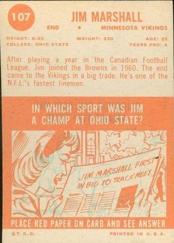 1963 Topps #107 Jim Marshall RC back image