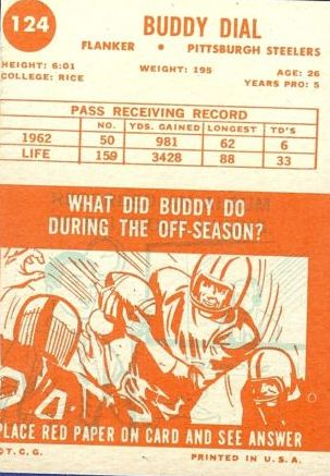 1963 Topps #124 Buddy Dial SP back image
