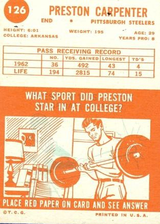 1963 Topps #126 Preston Carpenter SP back image