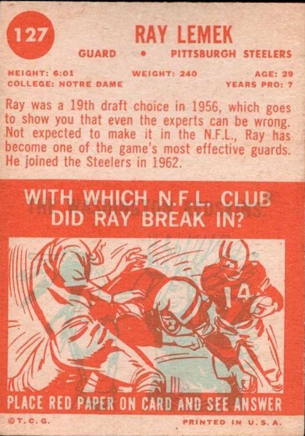 1963 Topps #127 Ray Lemek SP RC back image