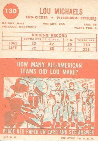 1963 Topps #130 Lou Michaels SP back image