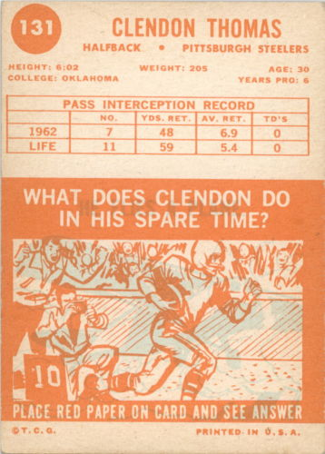 1963 Topps #131 Clendon Thomas SP RC back image