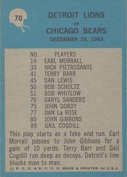 1964 Philadelphia #70 Detroit Lions back image