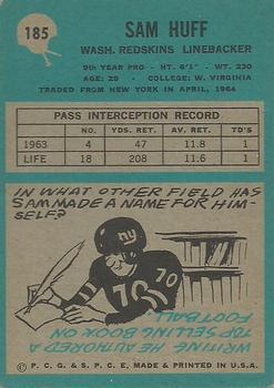 1964 Philadelphia #185 Sam Huff back image