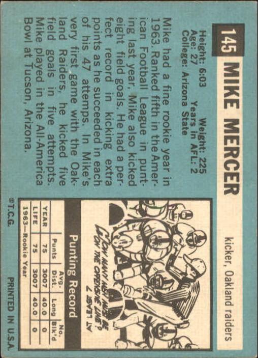 1964 Topps #145 Mike Mercer back image