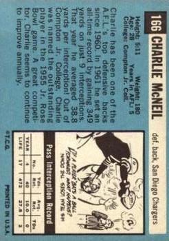 1964 Topps #166 Charlie McNeil back image