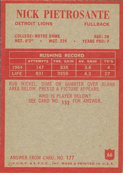 1965 Philadelphia #66 Nick Pietrosante back image
