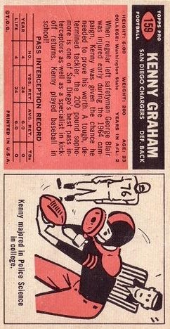 1965 Topps #159 Kenny Graham SP RC back image