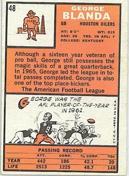 1966 Topps #48 George Blanda back image