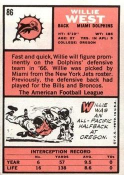 1966 Topps #86 Willie West RC back image