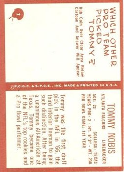 1967 Philadelphia #7 Tommy Nobis RC back image