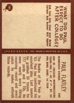 1967 Philadelphia #101 Paul Flatley back image