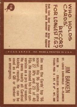 1967 Philadelphia #158 Jim Bakken back image