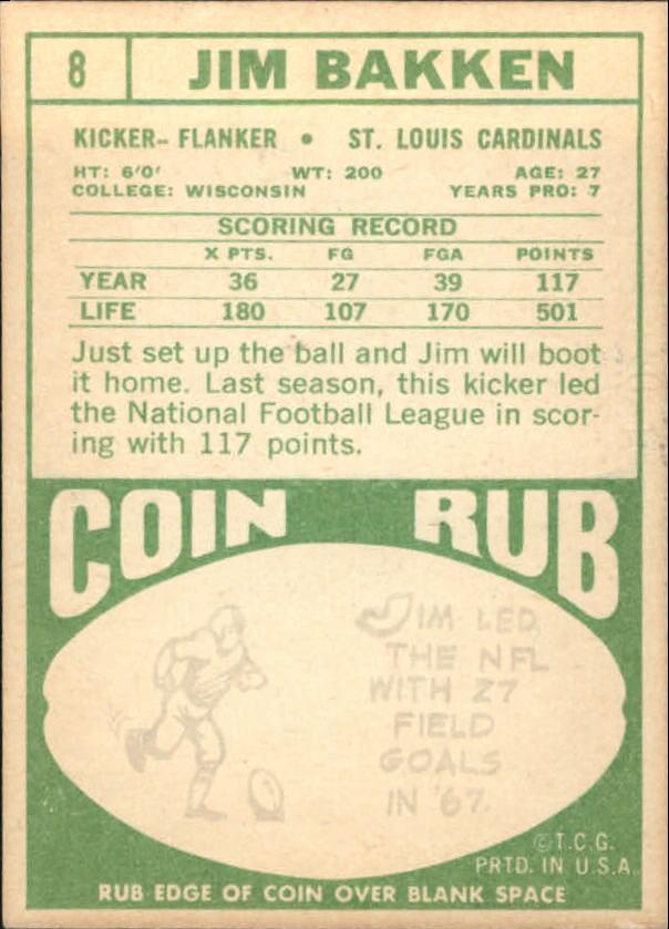 1968 Topps #8 Jim Bakken back image