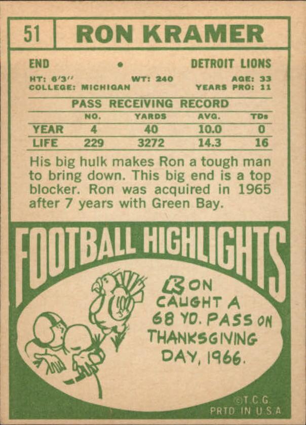 1968 Topps #51 Ron Kramer back image