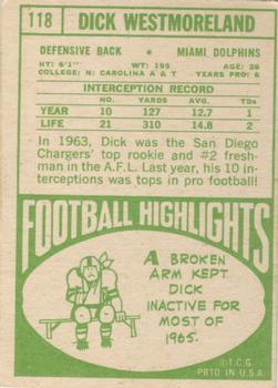 1968 Topps #118 Dick Westmoreland back image