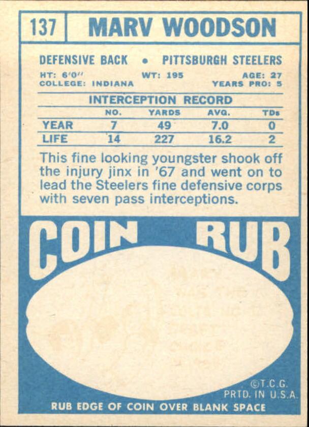 1968 Topps #137 Marv Woodson RC back image