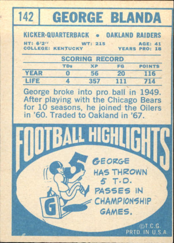 1968 Topps #142 George Blanda back image