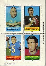 1969 Topps Four-in-One Inserts #57 Talamini/Blanda/Whalen/Kemp