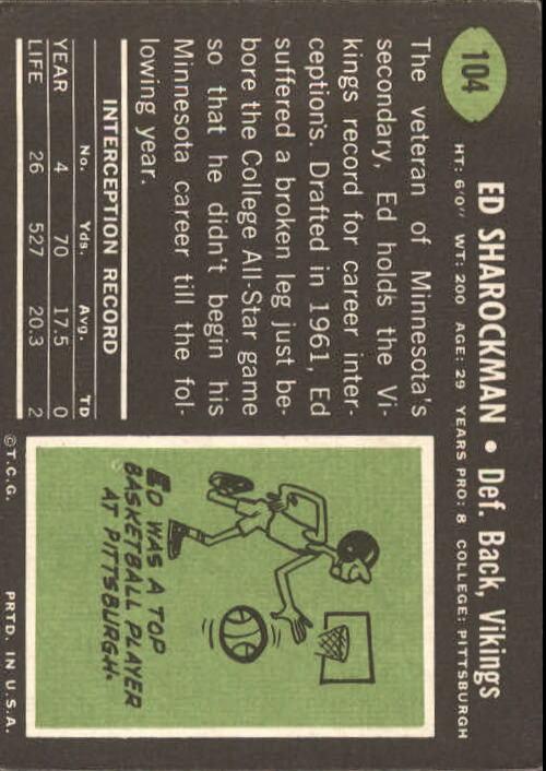 1969 Topps #104 Ed Sharockman back image