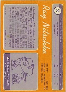 1970 Topps #55 Ray Nitschke back image