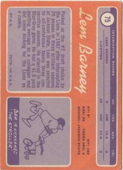 1970 Topps #75 Lem Barney RC back image