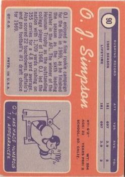 1970 Topps #90 O.J. Simpson RC back image